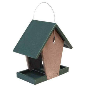 Hopper Bird Feeder, Green and Brown, Small - BirdHousesAndBaths.com