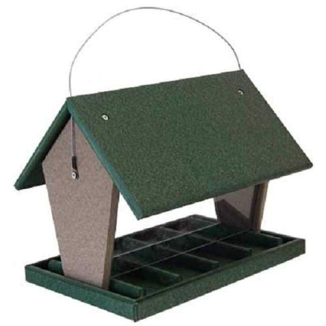Hopper Green and Brown Bird Feeder, Large - BirdHousesAndBaths.com