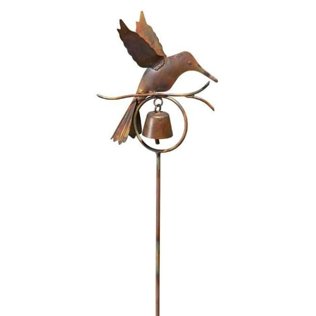 Hummingbird with Bell Garden Stake - BirdHousesAndBaths.com