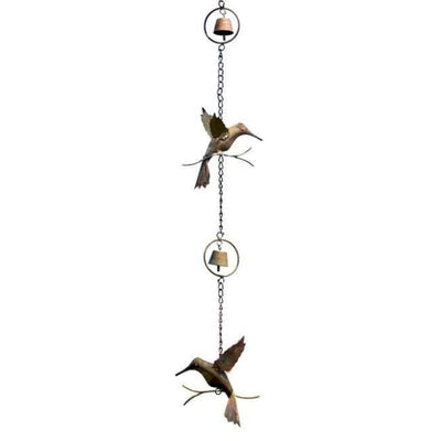 Hummingbird & Bell Rain Chain, Flamed Copper - BirdHousesAndBaths.com