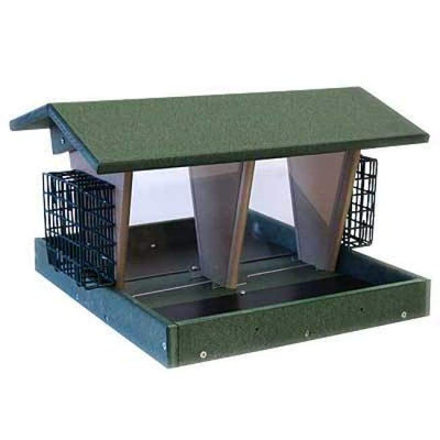 Large Green Double Hopper Seed and Suet Bird Feeder