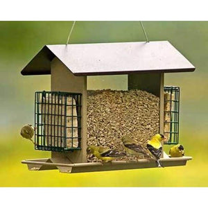 Large Hopper Bird Feeder with Suet Cages