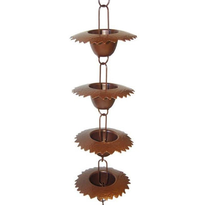 Leaf Cup Rain Chain, Browned Copper Finish - BirdHousesAndBaths.com