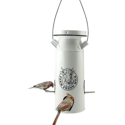 Milkhouse Vintage White Milk Can Bird Seed Feeder - BirdHousesAndBaths.com