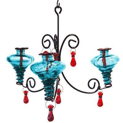 Mini-Blossom Chandelier Hummingbird Feeder, Aquamarine - BirdHousesAndBaths.com