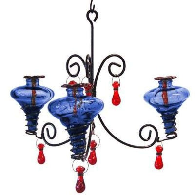 Mini-Blossom Chandelier Hummingbird Feeder, Blue - BirdHousesAndBaths.com