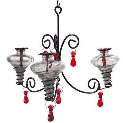 Mini-Blossom Chandelier Hummingbird Feeder, Clear - BirdHousesAndBaths.com