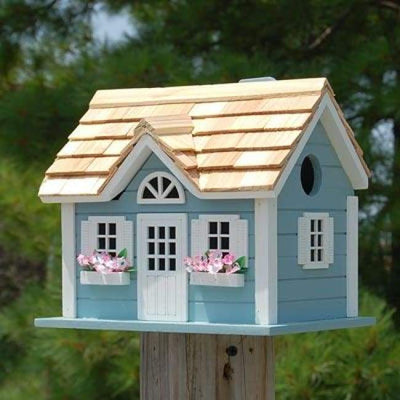 Nantucket Cottage Blue Bird House - BirdHousesAndBaths.com