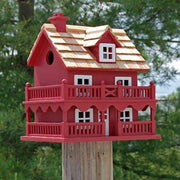 Novelty Cottage Red Bird House - BirdHousesAndBaths.com
