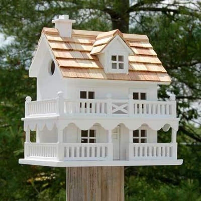 Novelty Cottage White Bird House - BirdHousesAndBaths.com
