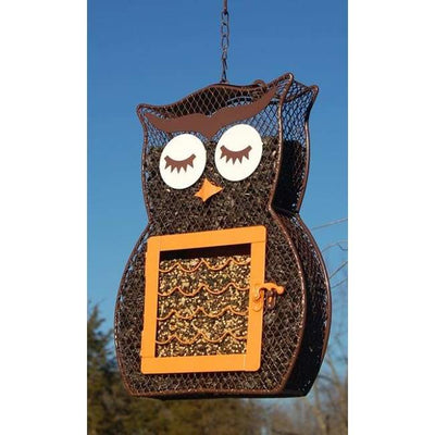 Owl Shaped Seed and Suet Bird Feeder