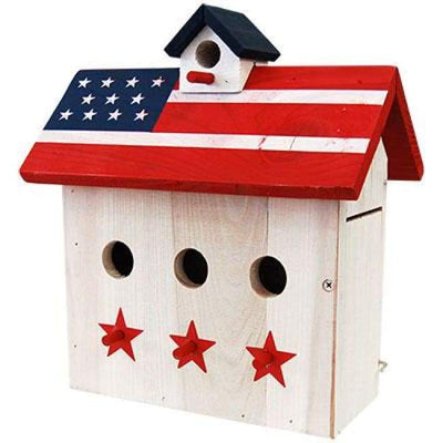 Patriotic Wren House with Three Perches - BirdHousesAndBaths.com