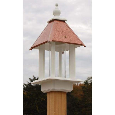 Pavilion Bird Feeder with Hammered Copper Colored Metal Roof - BirdHousesAndBaths.com