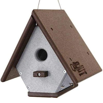 Polywood Brown and Gray Recycled Plastic Hanging Wren House - BirdHousesAndBaths.com