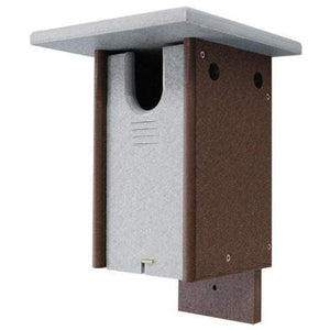 Polywood Gray and Brown Recycled Plastic Sparrow Resistant Bluebird House - BirdHousesAndBaths.com