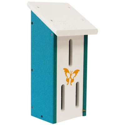 Polywood White and Teal Recycled Plastic Butterfly House - BirdHousesAndBaths.com