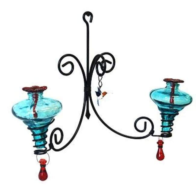 Sconce Chandelier Hummingbird Feeder, Aqua - BirdHousesAndBaths.com