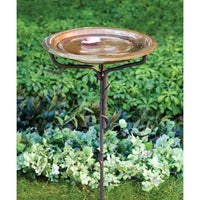 Solid Copper Bird Bath with Stake
