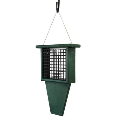 Suet Feeder with Tail Prop, Green - BirdHousesAndBaths.com