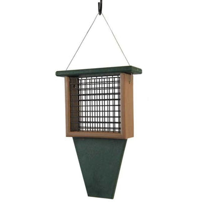 Suet Feeder with Tail Prop, Green/Brown - BirdHousesAndBaths.com