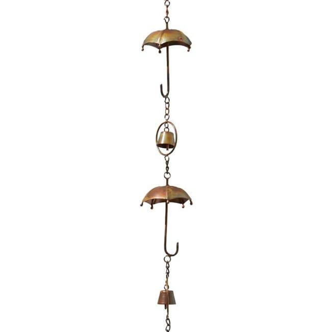 Umbrella and Bell Rain Chain, Flamed Copper - BirdHousesAndBaths.com