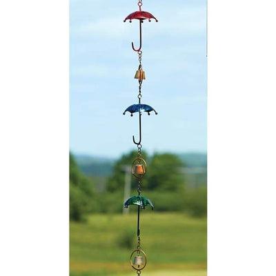 Umbrella and Bell Rain Chain, Multicolored - BirdHousesAndBaths.com