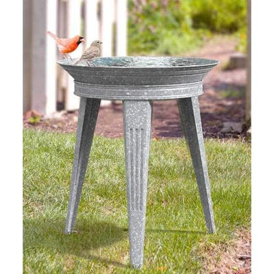 Vintage Galvanized Metal Bird Bath and Stand - BirdHousesAndBaths.com