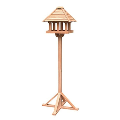 Wild Bird Lovers Cedar Gazebo Bird Table with Stand - BirdHousesAndBaths.com