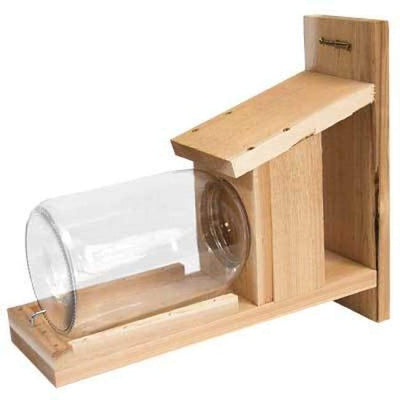 Wooden Squirrel Jar Feeder - BirdHousesAndBaths.com