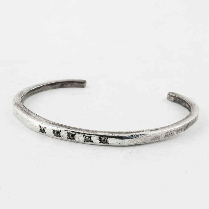 Carved Cuff with Grey Diamonds