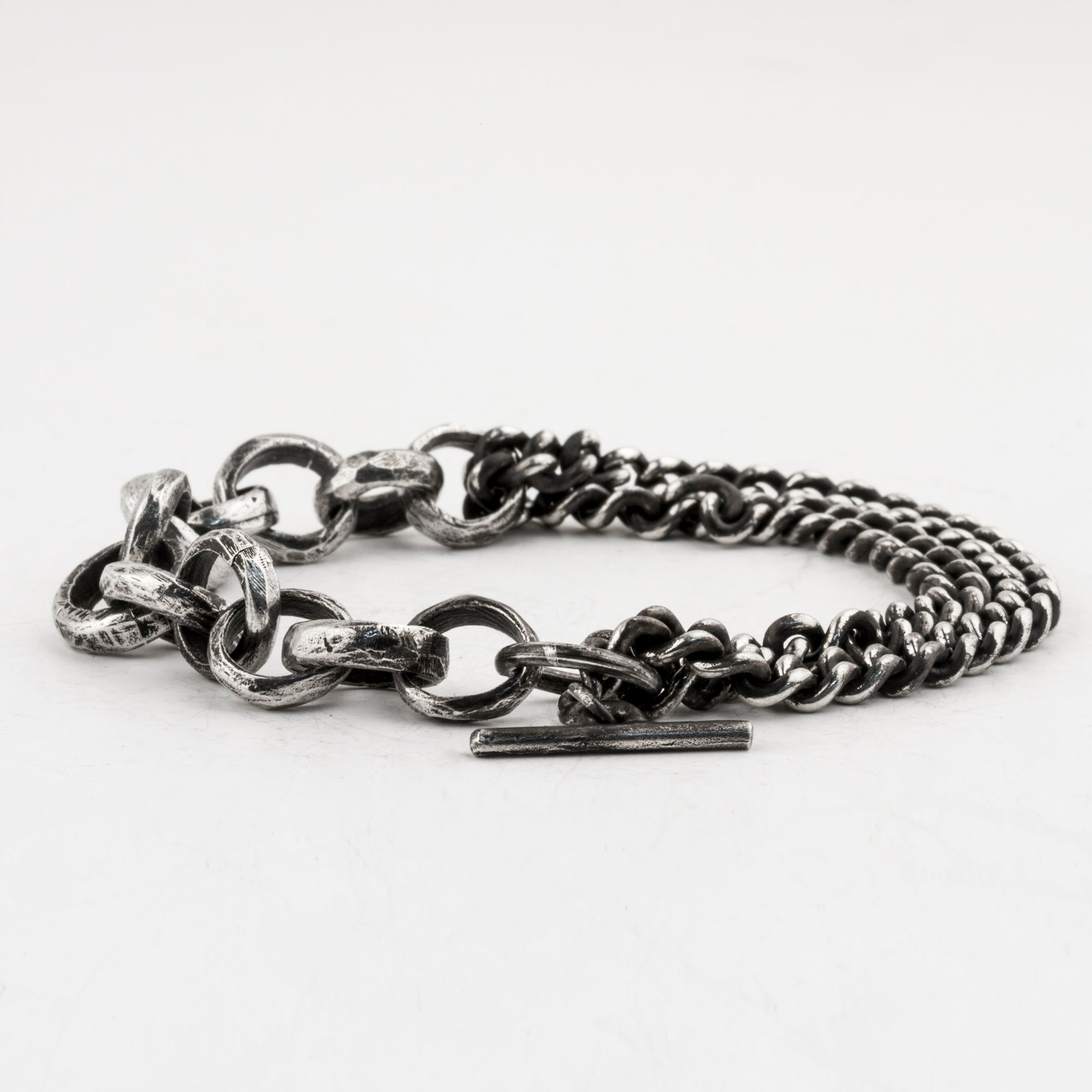 Carved Links and Curb Chain Bracelet