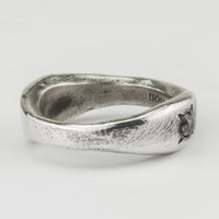 Double Signet Ring with Grey Diamond