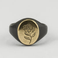 Engraved Flower Signet with Gold Top