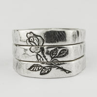 Engraved Rose Split Ring