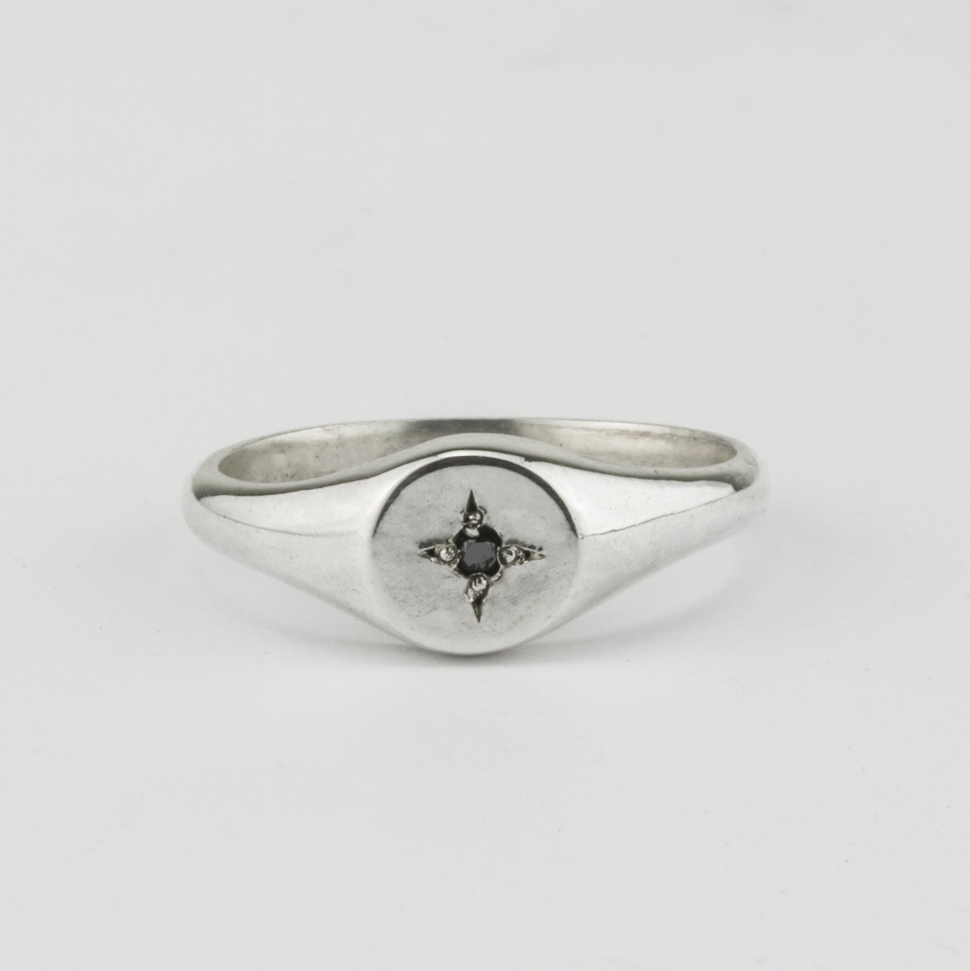Fine Black Diamond Star Signet