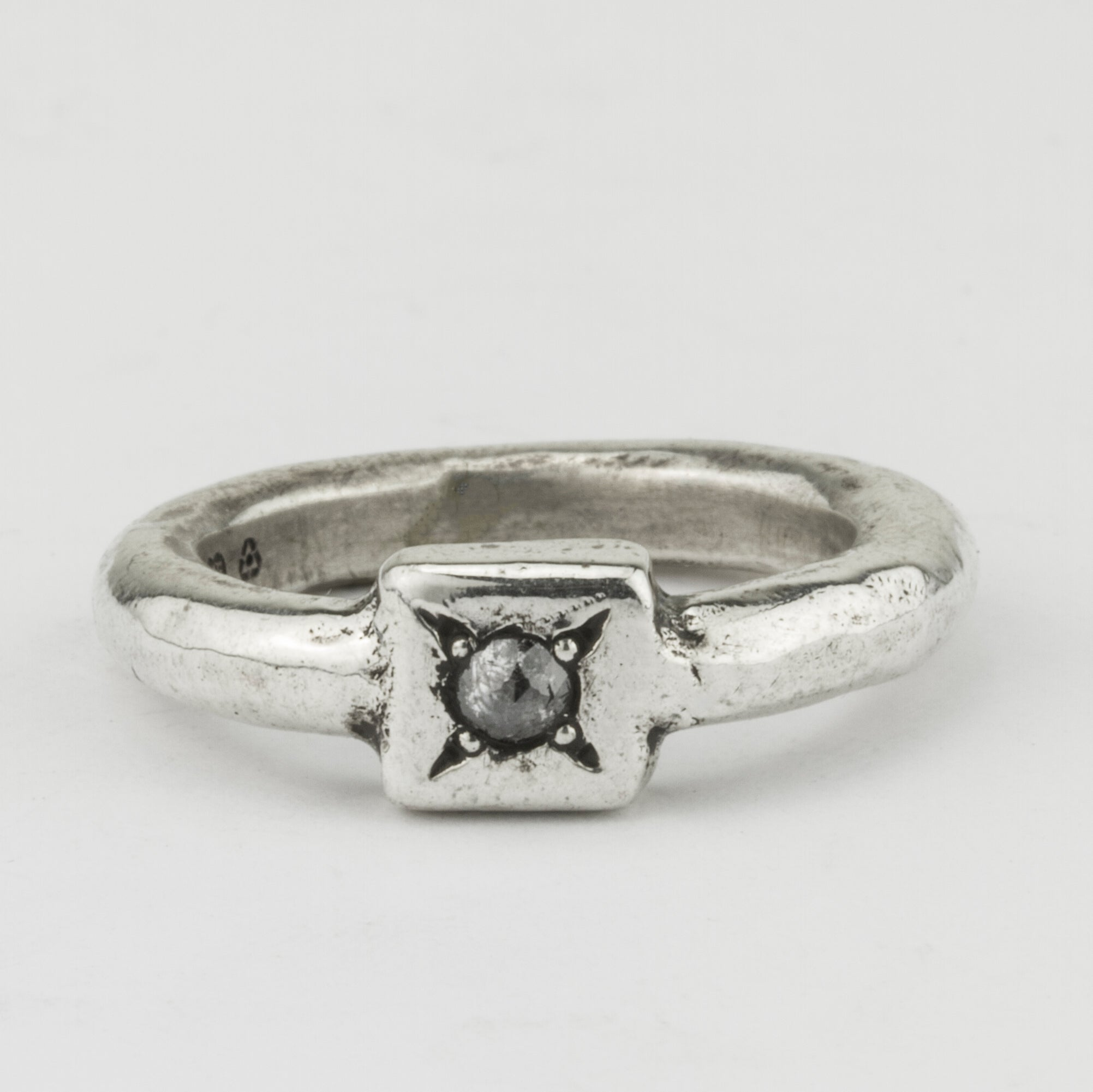 Stacker Ring with Square and Grey Diamond