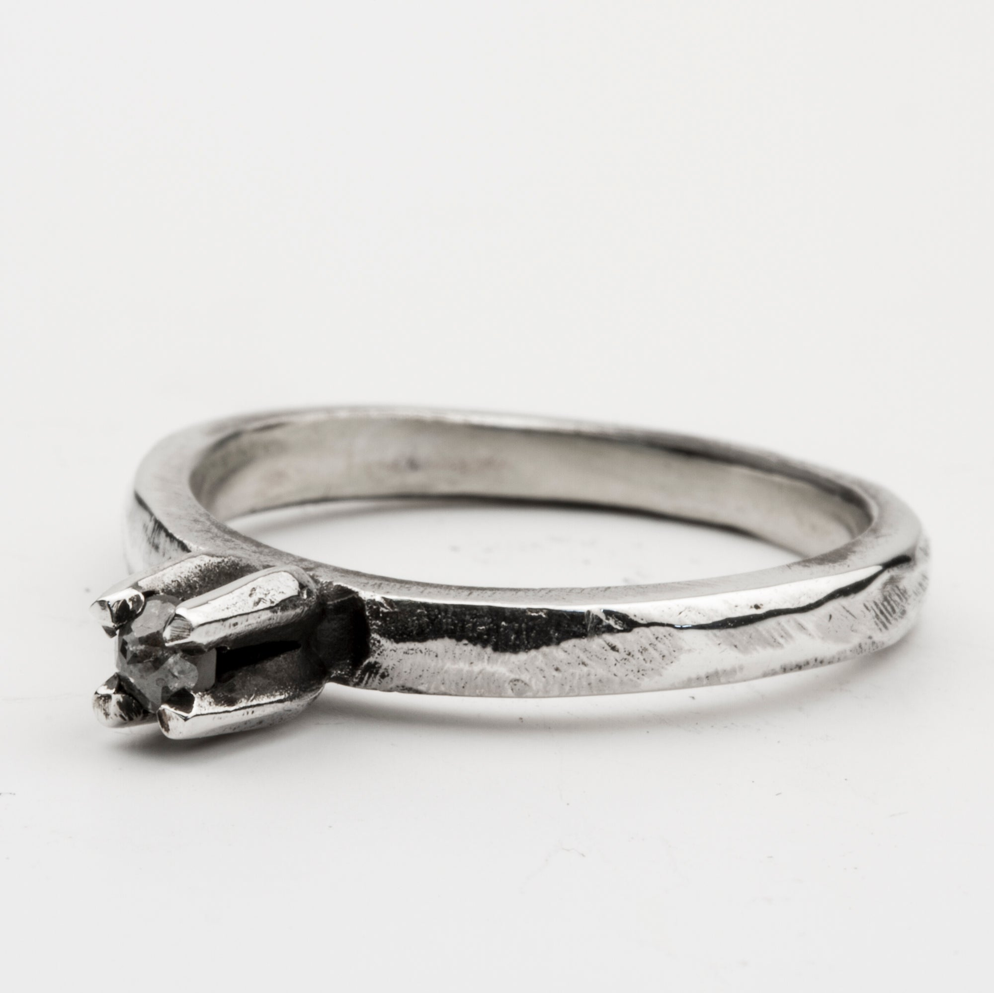 Long Claw Ring with Grey Diamond