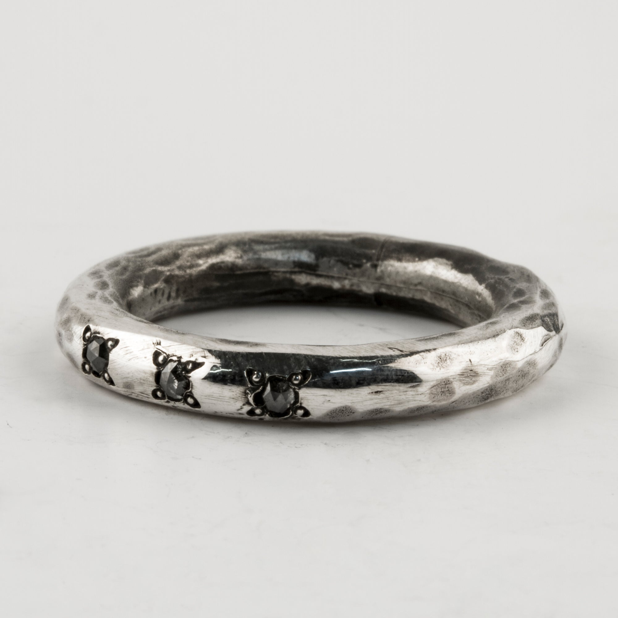 Stacker Ring with Grey Diamonds