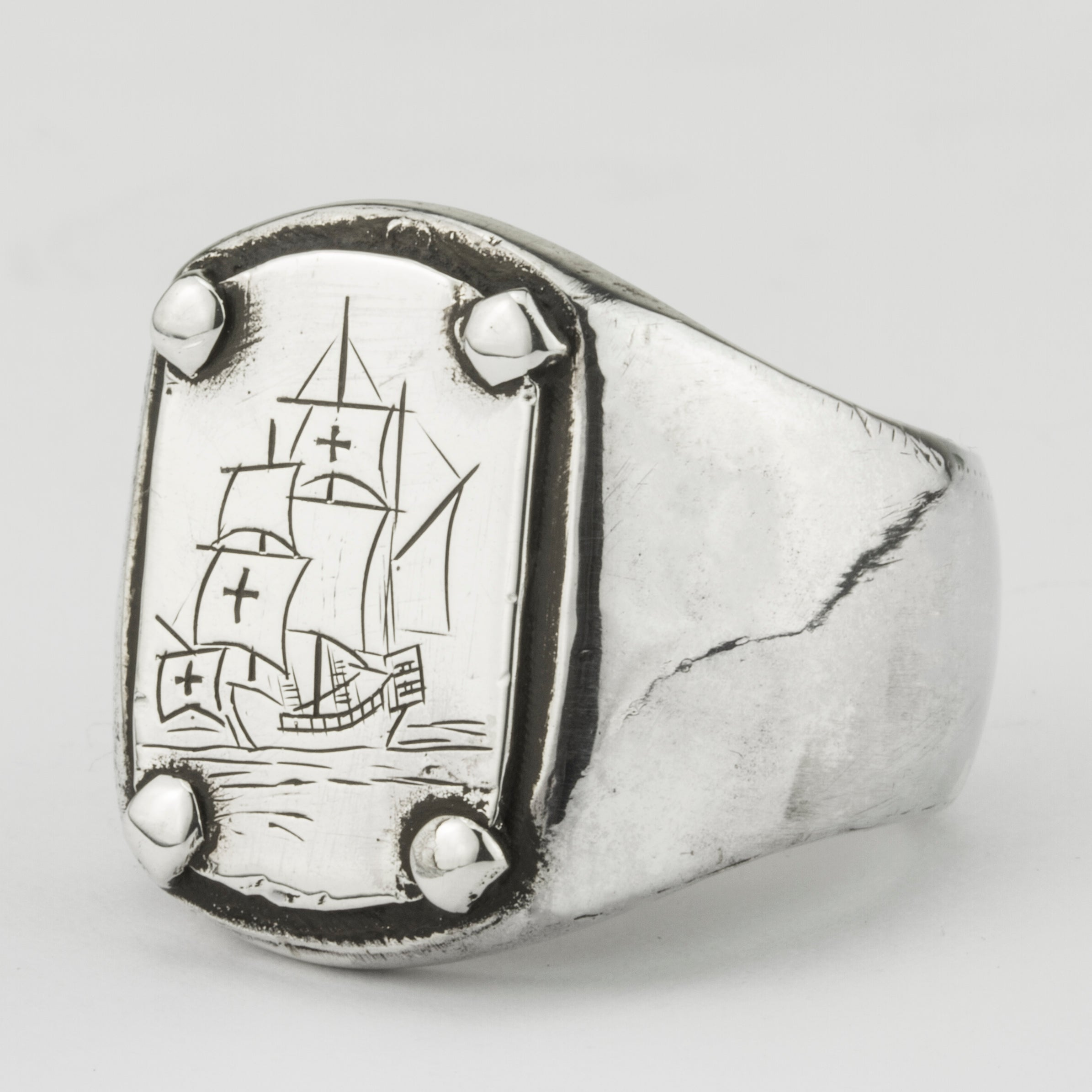 Engraved Ship Ring