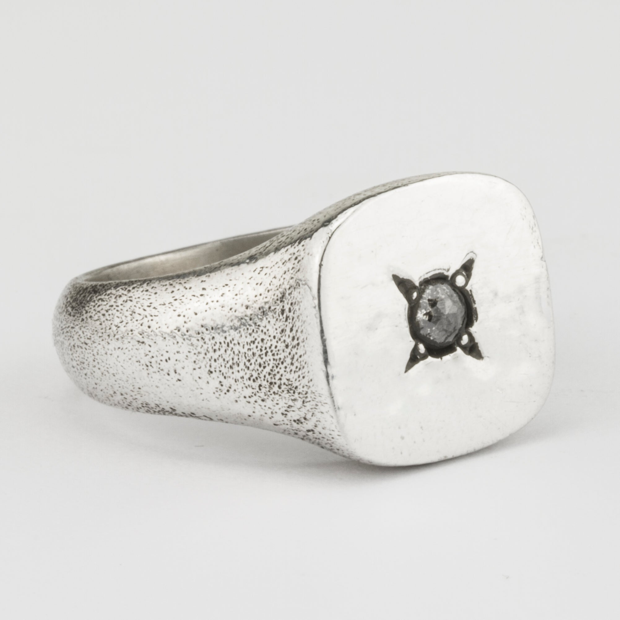 Square Signet Ring with Diamond