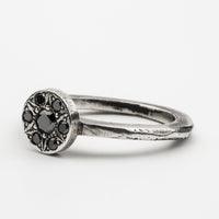Fine Carved Black Diamond Flower Ring