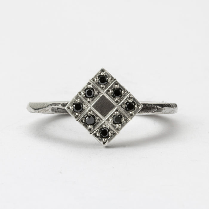 Fine Carved Black Diamond Grid Ring