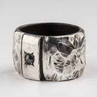 Carved Thick Ring with Grey Diamond