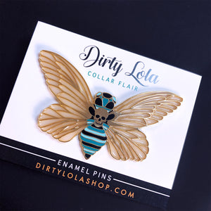 Death's Head Moth Enamel Pin