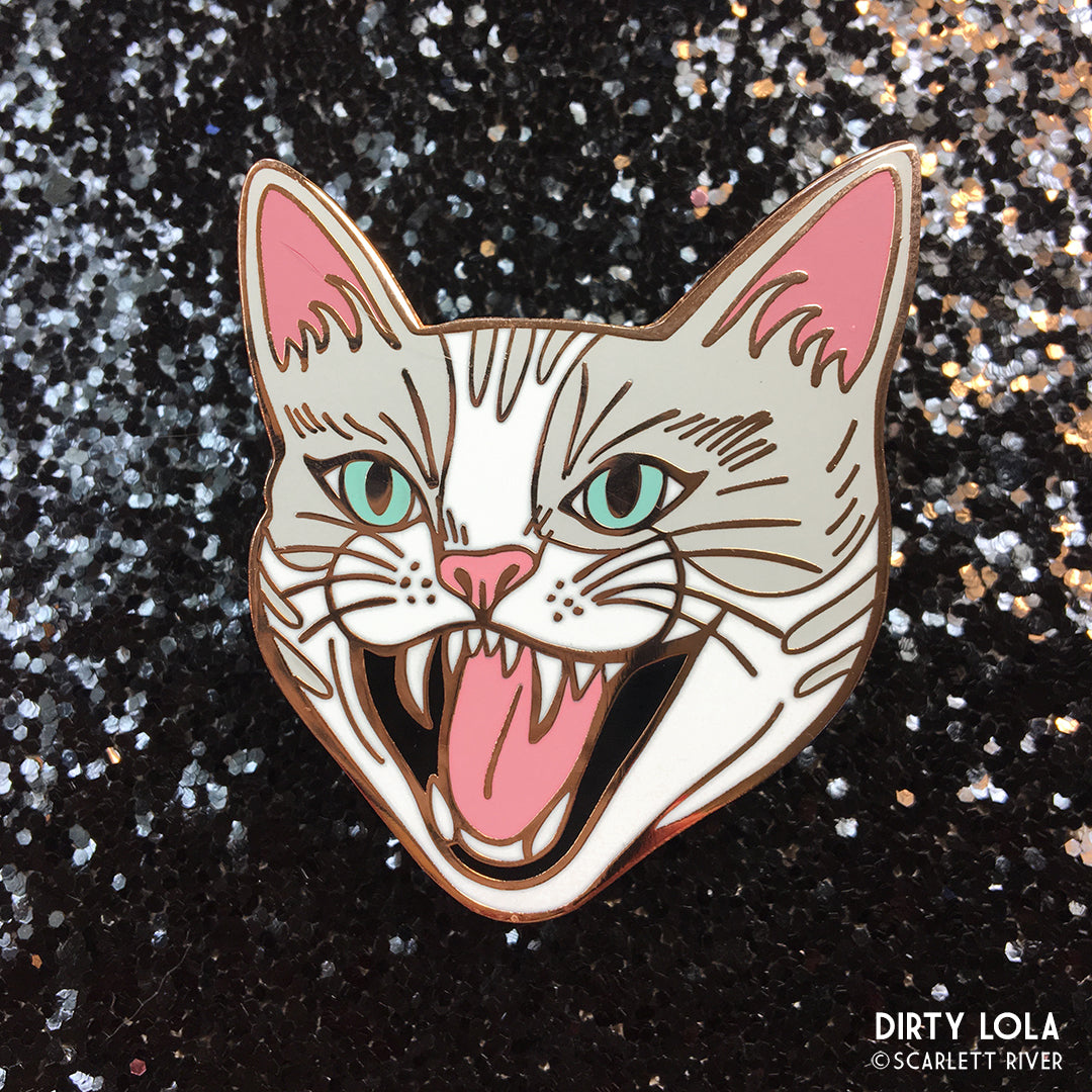 Hissing Cat Enamel Pin