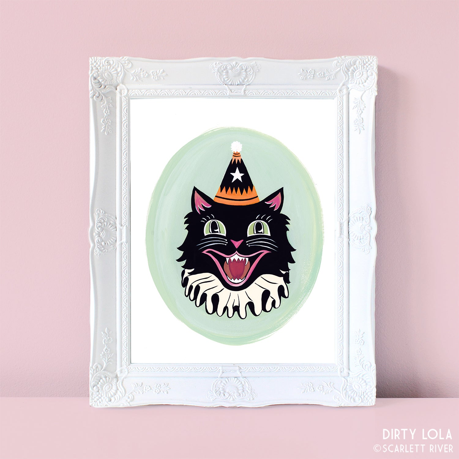 Mint Halloween Cat Art Print
