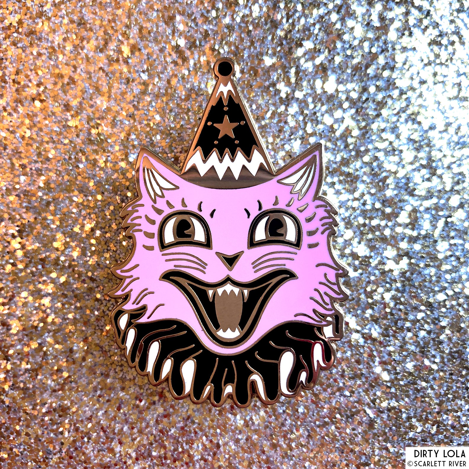 Pink Circus Cat Enamel Pin