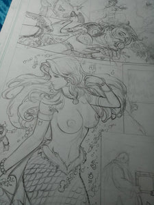 Neptune Mermaid Sketch -- Teela & Battlecat Vs Lockjaw & Medusa