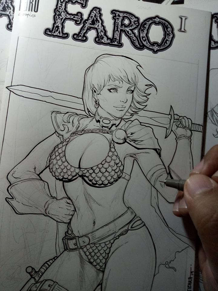 Power Girl -- Red Sonya Mashup Sketch -- Strip Poker Inks