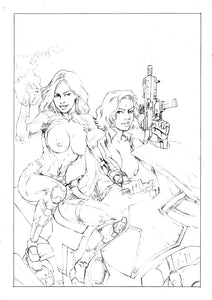 Captain Marvel & Black Widow Topless Infinity Chopper Sketch Update WOW